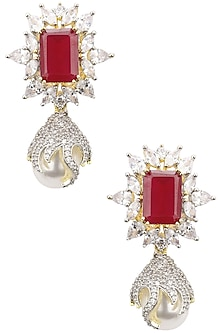 22K Gold Plated Ruby and White Sapphire Earrings by Tanzila Rab