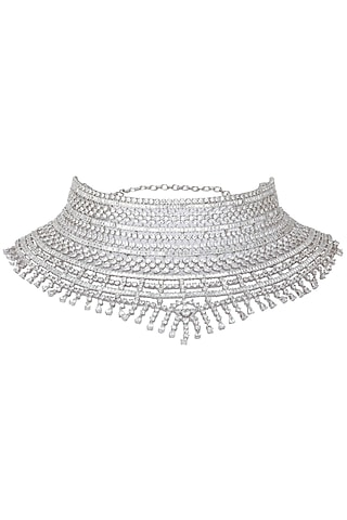 Rhodium Finish White Sapphires Studded Bridal Necklace by Tanzila Rab