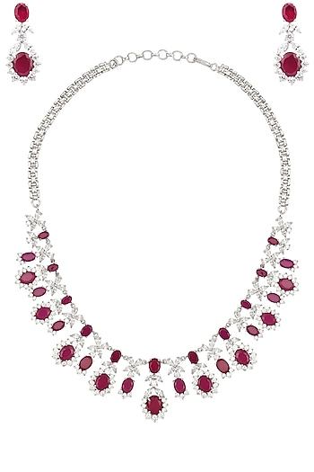 Rhodium Finish White Sapphire and Ruby Necklace by Tanzila Rab