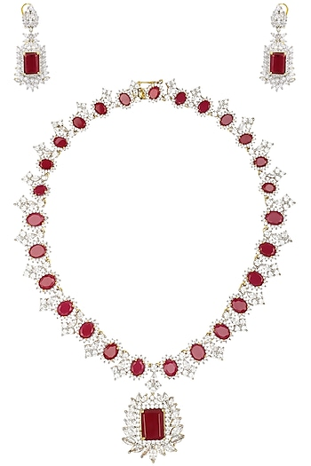 Rhodium and Gold Finish White Sapphire Necklace by Tanzila Rab