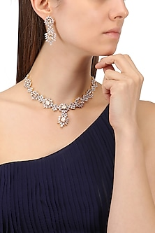 Rhodium and Gold Finish White Sapphire and Topaz Necklace Set by Tanzila Rab