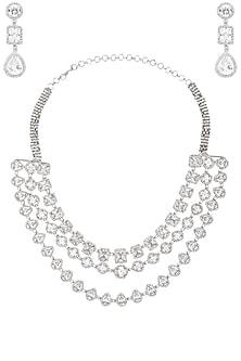 Rhodium Finish White Sapphire Three Line Necklace by Tanzila Rab