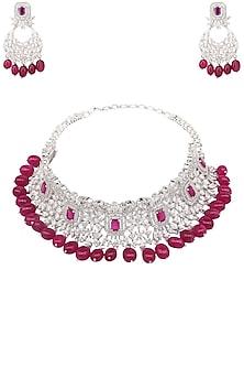 Rhodium and Gold Finish White Sapphire and Semi Precious Stone Necklace by Tanzila Rab