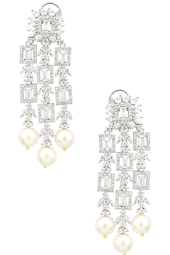 Rhodium Finish White Sapphire and Pearl Drops Earrings by Tanzila Rab