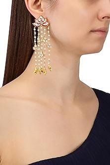 Gold Finish Meenakari and Kundan Earrings by Tanzila Rab