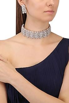 Rhodium Finish White Sapphire Choker Necklace by Tanzila Rab