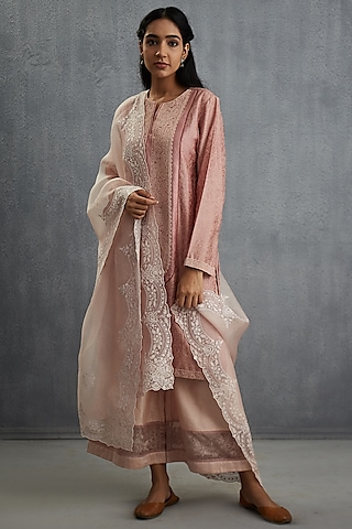Pink Scallop Embroidered Dupatta by Torani