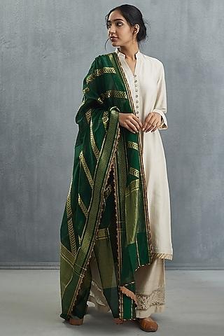 Green Printed Dupatta by Torani