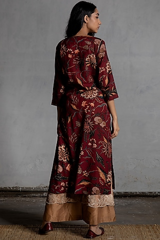 Maroon Digital Printed Kurta by Torani