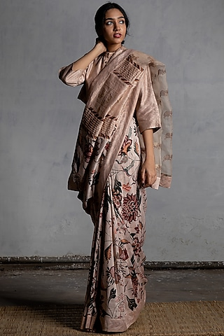 Ivory Digital Printed Saree by Torani