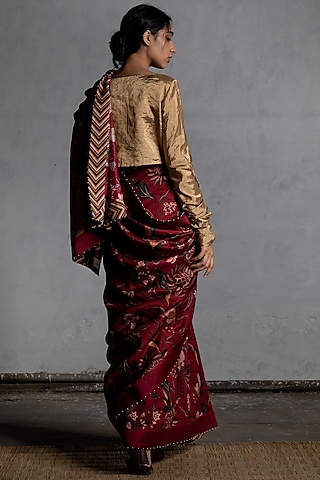 Maroon Digital Printed Saree by Torani