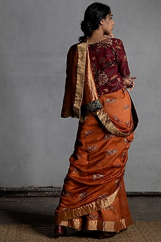 Orange Block Printed Saree by Torani