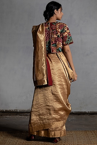 Gold Handwoven Saree by Torani