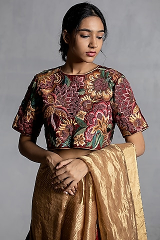 Maroon Embroidered Blouse by Torani