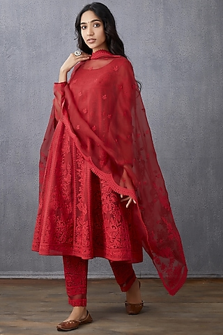 Red Machine Embroidered Anarkali Set by TORANI