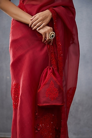 Red Hand Embroidered Potli by TORANI
