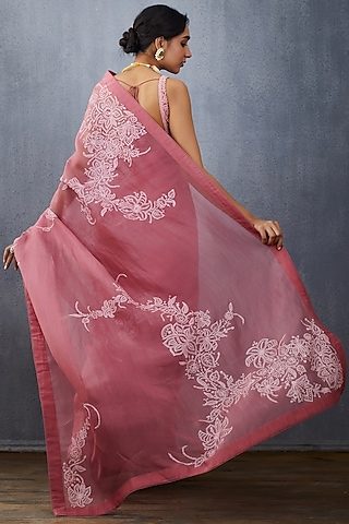 Grapes Pink Embroidered Saree Set by TORANI
