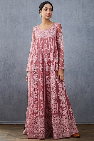 Grapes Pink Embroidered Kurta & Dupatta by TORANI