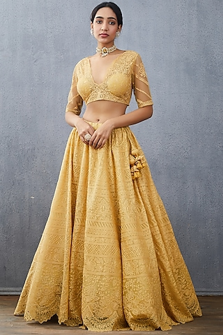 Mustard Embroidered Lehenga Set by TORANI