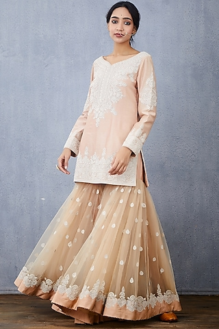 Peach Embroidered Kurta Set by TORANI