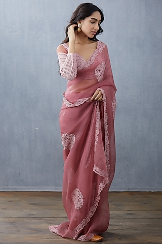 Pink Hand Embroidered Saree Set by TORANI