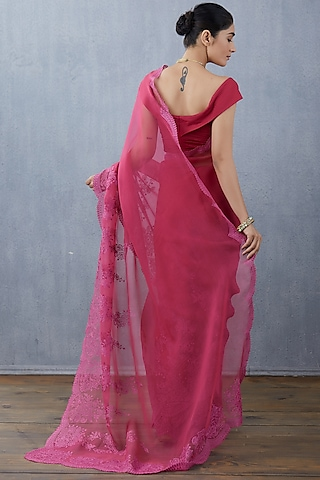 Pink Silk Lycra Saree Set by TORANI