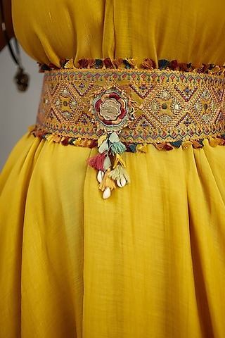 Yellow Machine Embroidered Kamarbandh by TORANI
