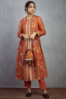 Orange Hand Embroidered Potli by TORANI