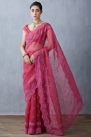 Pink Hand & Machine Embroidered Saree Set by TORANI