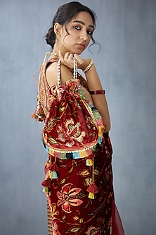Red Hand Embroidered Potli by TORANI-GIFTS FOR HER