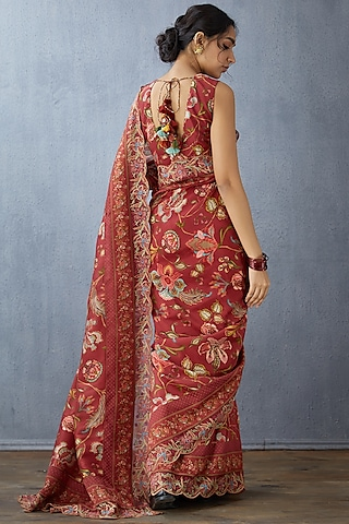 Red Embroidered Saree Set by TORANI