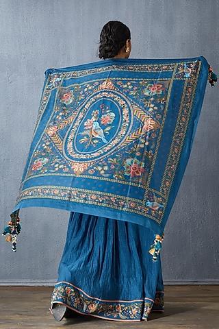 Blue Handwoven Chanderi Scarf by TORANI