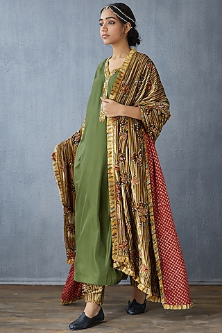 Multi Colored Hand Embroidered Dupatta by TORANI