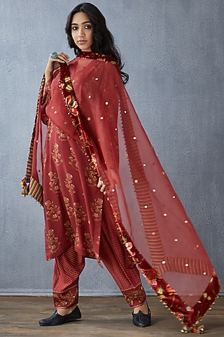 Red Hand Embroidered Dupatta by TORANI