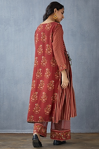 Red Kurta Set In Cotton Silk by TORANI