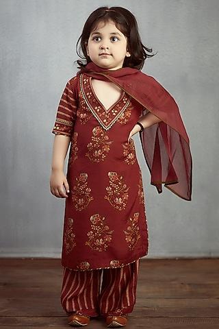 Maroon Cotton Silk Kurta Set by Torani Kids
