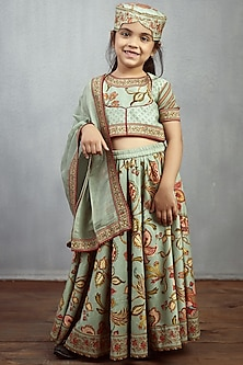 Aqua Blue Printed Lehenga Set by Torani Kids