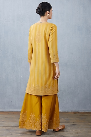 Yellow Embroidered Kurta Set by TORANI