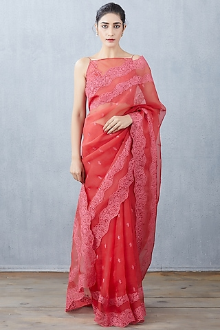 Red Hand Embroidered Saree Set by TORANI