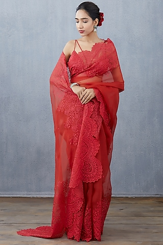 Red Hand & Machine Embroidered Saree Set by TORANI