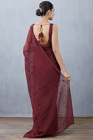 Maroon Embroidered Saree Set by TORANI