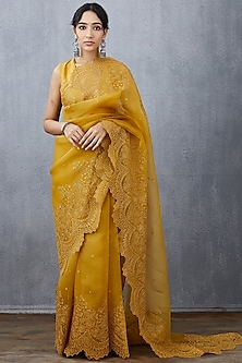 Yellow Machine Embroidered Saree Set by TORANI-POPULAR PRODUCTS AT STORE