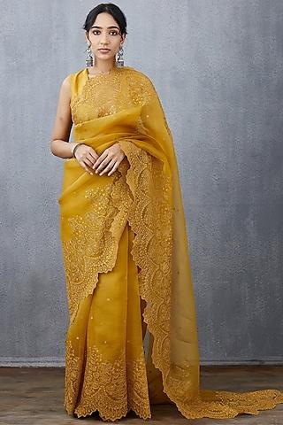 Yellow Machine Embroidered Saree Set by TORANI