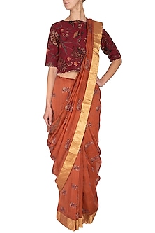 Orange Handwoven Block Printed Saree by TORANI