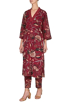 Maroon Printed Long Kurta by TORANI