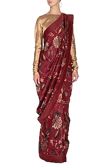 Maroon Printed Saree by TORANI