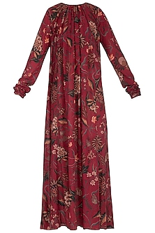 Maroon Printed Maxi Dress by TORANI