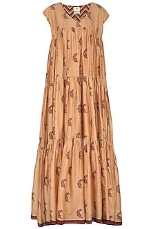 Dark Beige Block Printed Maxi Dress by TORANI