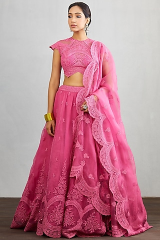 Pink Embroidered Lehenga Set by TORANI