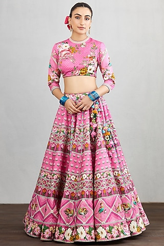 Pink Printed Lehenga Set by TORANI